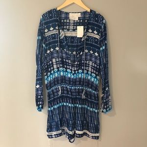 Pants - NWT blue and white tie dye romper
